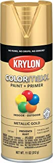 Krylon K05588007 COLORmaxx Spray Paint and Primer for Indoor/Outdoor Use, Metallic Gold