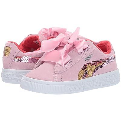 Puma Kids Suede Heart Trailblazer Sequins (Toddler) (Pale Pink/Hibiscus/Puma White) Girl