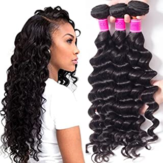 RECOOL 10A Brazilian Hair Loose Deep Wave Bundles 100% Human Hair Extensions Wet and Wavy Virgin Hair Deals Braiding Hair Natural Color Thick Bundles(16 18 20)