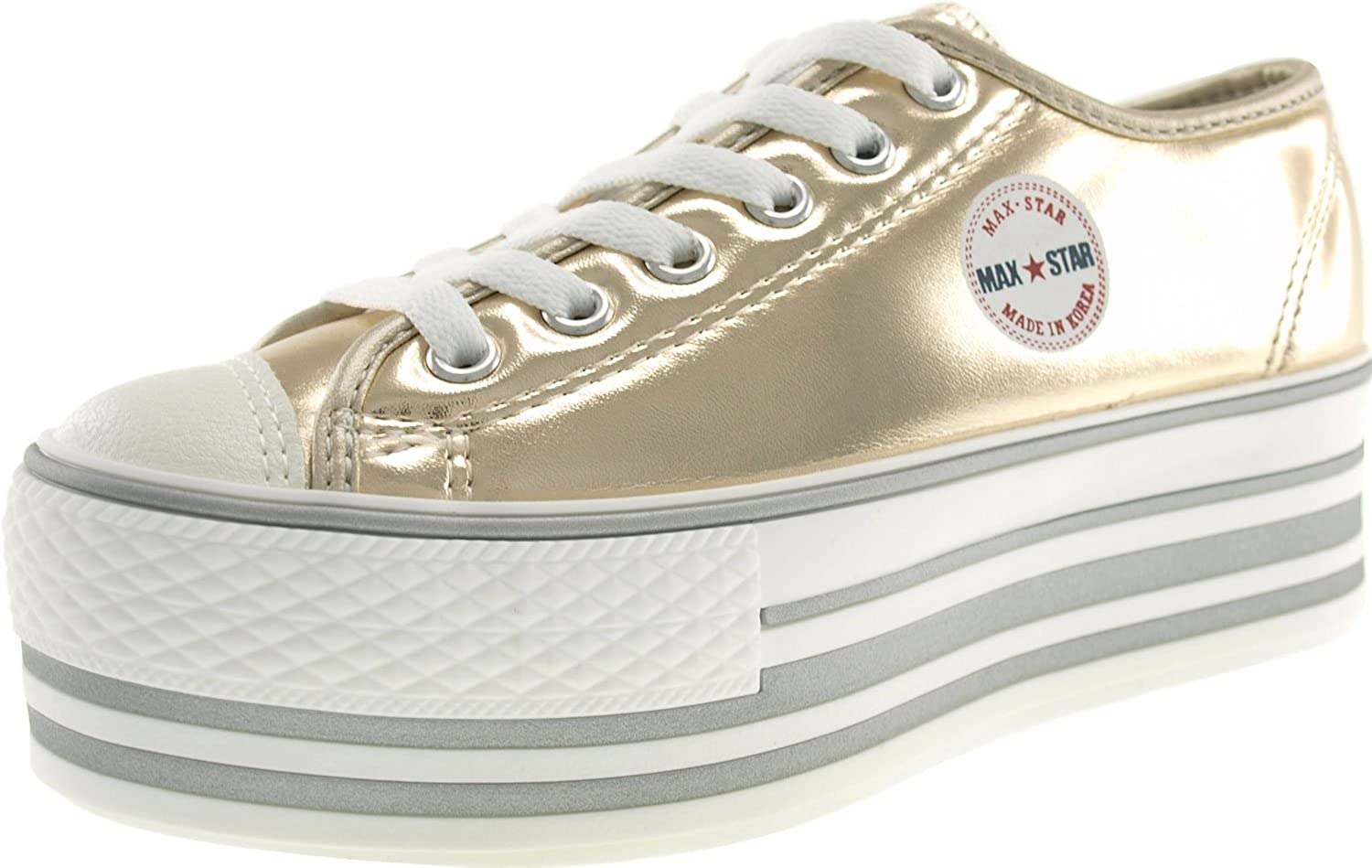Maxstar Metalic colord Low-top Platform Synthetic Leather Sneakers shoes