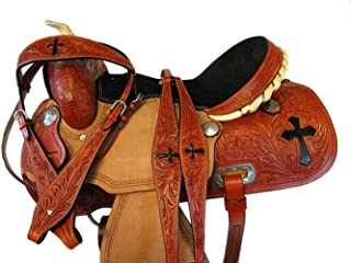 Show Trail Pleasure Rough Out Leather Barrel Racing Horse Western Rodeo Saddle 15 16