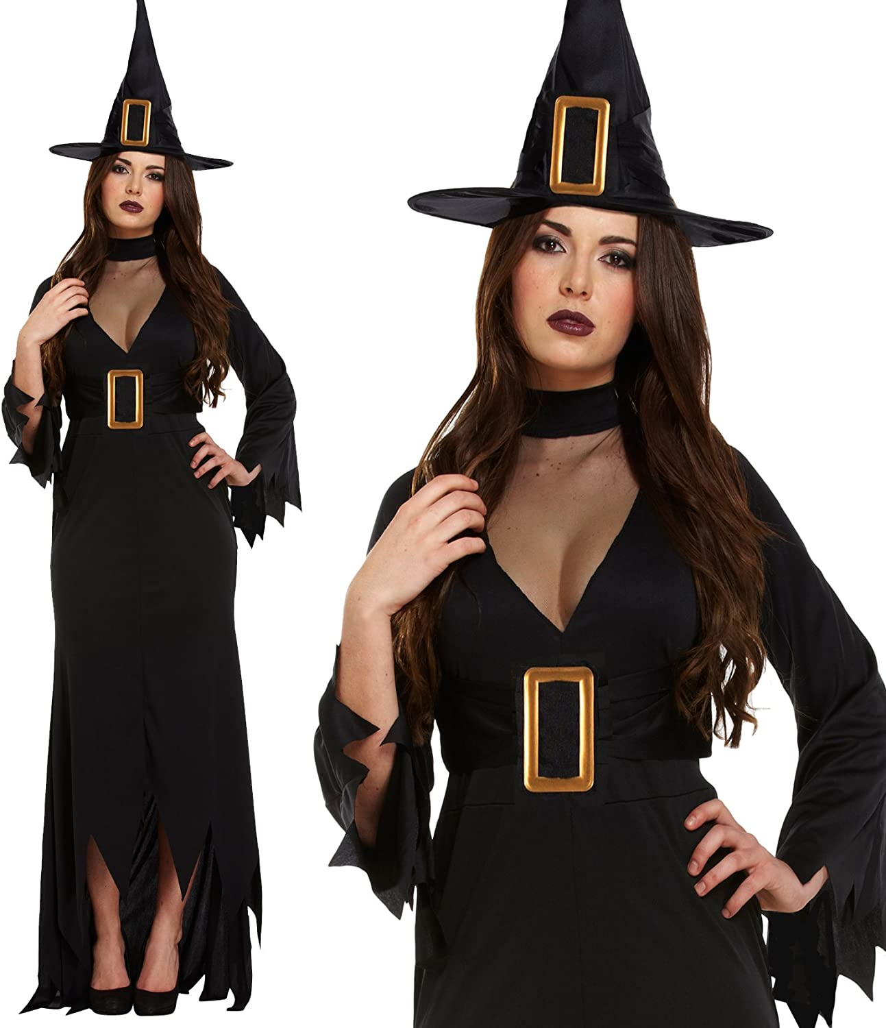 Ladies Lange schwarze Hexe Kostüm Halloween Fancy Dress Outfit (42-46)