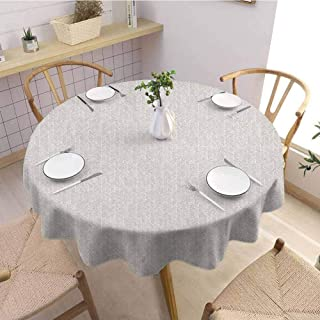 Luoiaax Herringbone Leakproof Polyester Round Tablecloth Vertical Borders with Chevron Triangles Hand Drawn Style Random Lines Hipster Outdoor and Indoor use D40 Inch Round Tan White