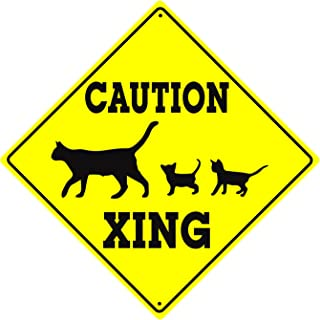 Caution Cat With Kittens Symbol Crossing Animal Xing Novelty Road Wall Décor Diamond Metal Aluminum 12