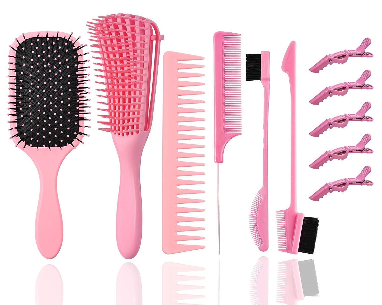 Hair 6 Pcs Brushes Set, HairBrush with Soft  Flexy Bristle + De