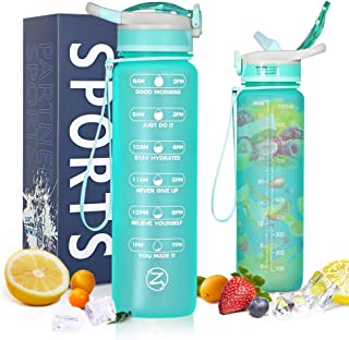 ZOMAKE Motivational Water Bottle 1L with Time Marker Straw BPA Free Non-Toxic , Leakproof and Portable Water Bottle for Fi...