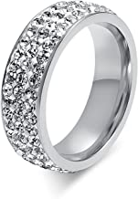 Chryssa Youree 7mm Women Stainless Steel Eternity Ring for Wedding Band Engagement Promise CZ Cubic Zirconia Crystal Circle Round Size 7 to12(SZZ-022)