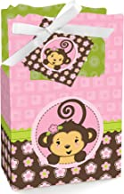 Pink Monkey Girl - Baby Shower or Birthday Party Favor Boxes - Set of 12