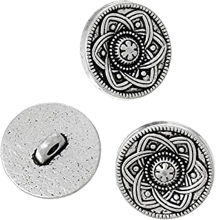 PEPPERLONELY Brand 10PC Antique Silver Metal Shank Button Round Single Hole Flower Pattern 15mm