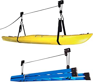 Kayak Hoist Set – Overhead Pulley System with 125 lb Capacity for Kayaks, Canoes, Bikes, or Ladder Storage by Rad Sportz (...