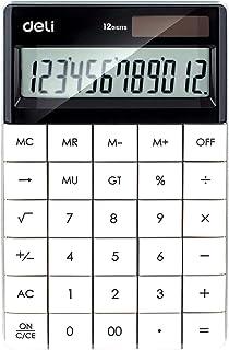 Deli Standard Function Desktop Business Calculator E1589,Large 12-Digit Display,Solar/Battery Dual Power,White (1 Pack)