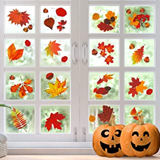 CandyHome 174 PCS Fall Leaves Window Clings, Thanksgiving Window Clings, Autumn Fall..