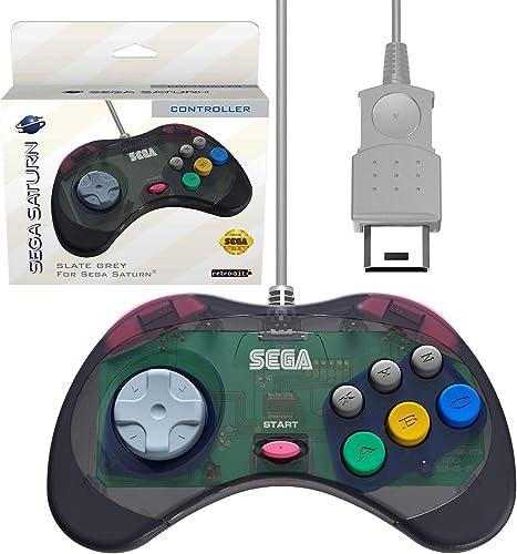 Retro-Bit Official Sega Saturn Controller Pad for Sega Saturn - Original Port - Slate Grey