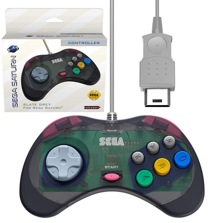 Retro-Bit Official Sega Saturn Controller Pad for Sega Saturn - Original Port - Slate Grey: Video Games