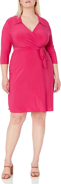 Star Vixen Women's Plus-Size 3/4 Sleeve Fauxwrap Dress with Collar
