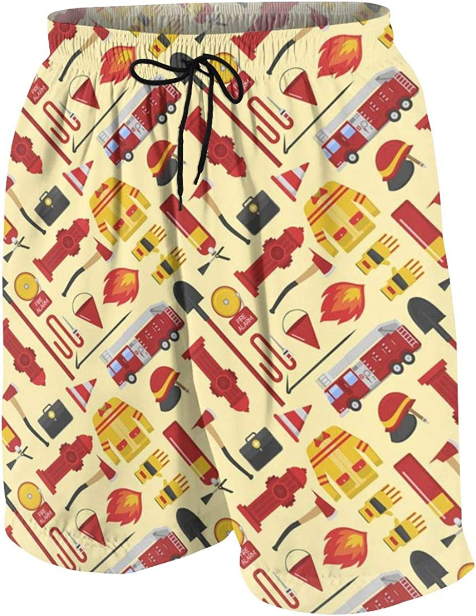 xqqr Boys Beach Board Shorts Fire Truck Firefighter Pattern Youth Bathing Suit Casual Swimsuit