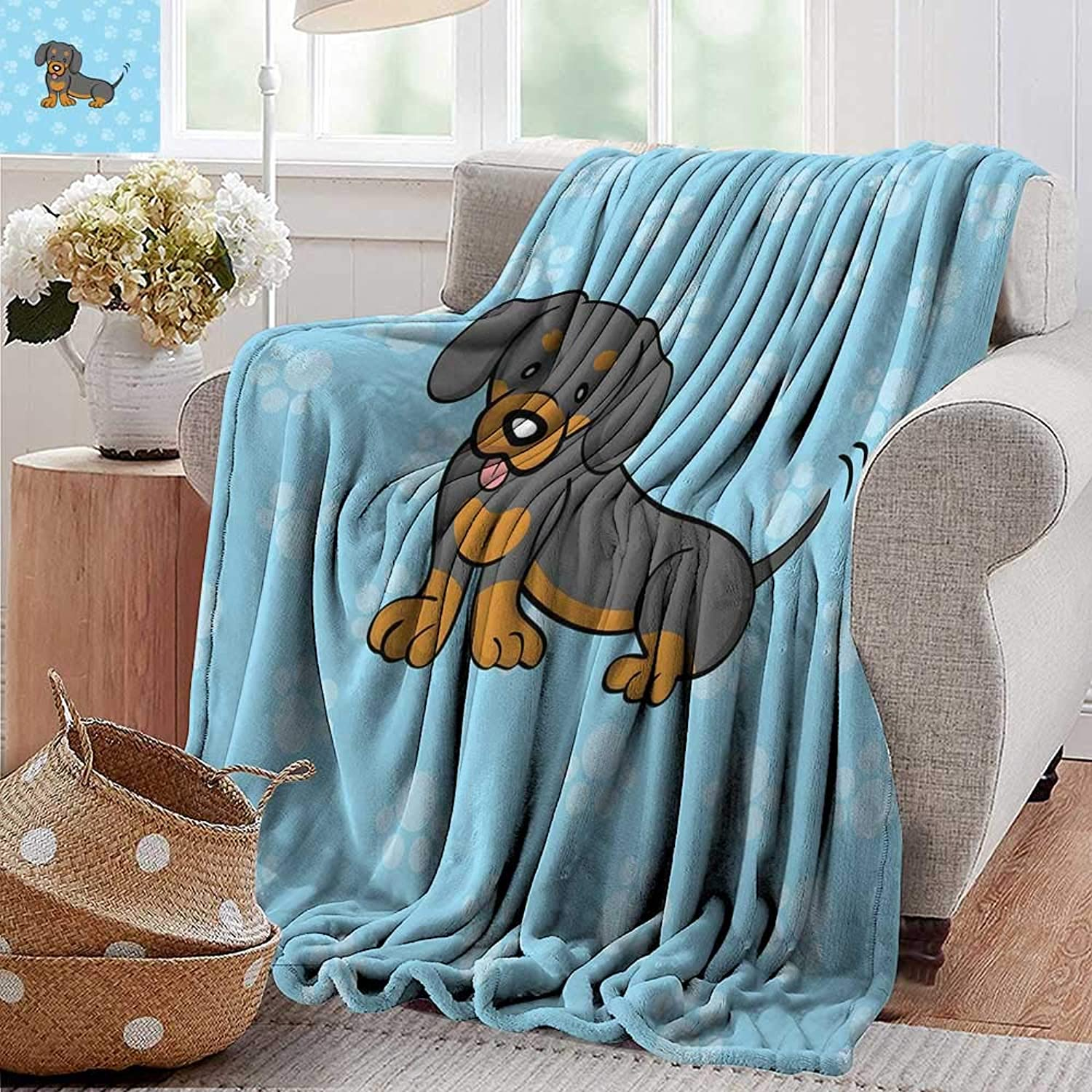 PearlRolan Weighted Blanket,Dachshund,Puppy Cartoon with Happy Expression on Its Face Paw Print Background,bluee Brown Dark Taupe,300GSM, Super Soft and Warm, Durable 50 x60