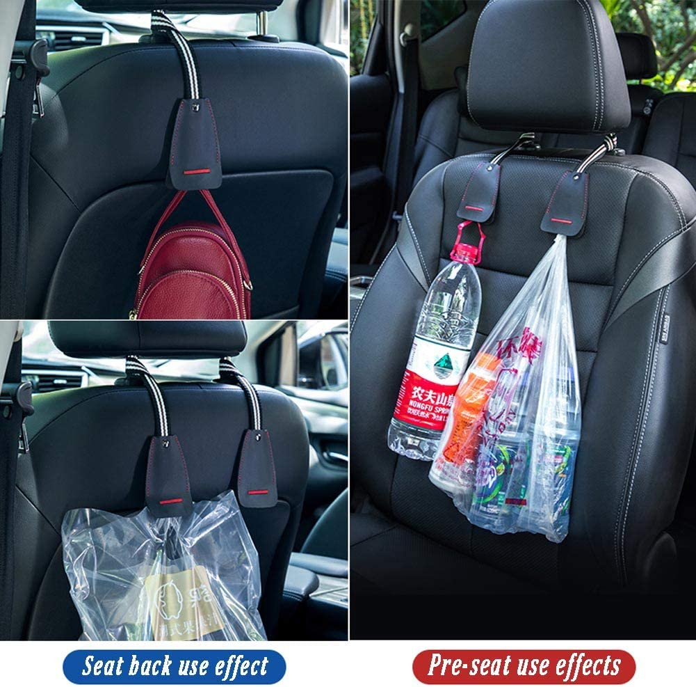 2-Pack Durable Hangers with Intimate Design Portable Organizer Car Hooks Premium Auto Seat Back Headrest Hanger Holder Hook for Bag Purse Hook for Car Headrest