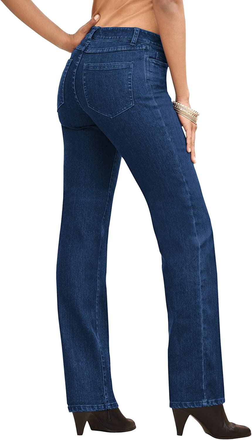 Roamans Women's Plus Size Embellished Free Popular brand in the world shipping Inv with Jean Straight-Leg