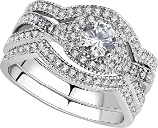 Stainless Steel Rings for Women Infinity Wedding Set Round CZ Cubic Zirconia Stainless Steel Wedding Sets for Women Halo Engagement Rings for Women Bridal Jewelry Set Set (Choice of stud earrings)