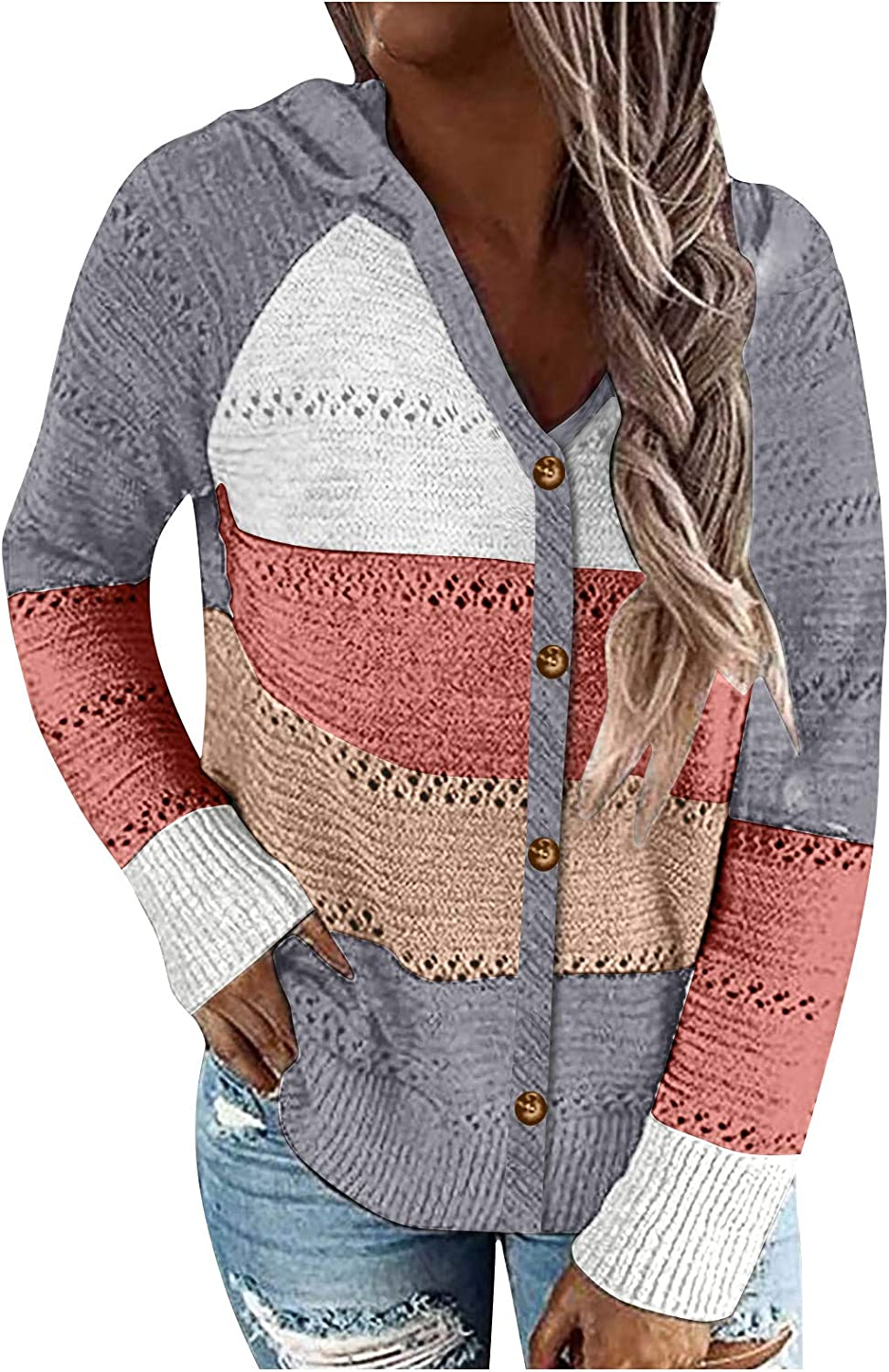 AODONG Sweater for Women,Womens Color Block Hoodies Lightweight Knit Long Sleeve Casual Striped V Neck Pullovers Sweatshirts