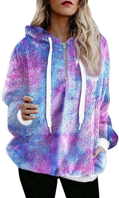 Womens Fuzzy Hoodies Pullover 1/4 Zip Long Sleeve Colorful Drawstring Tops Oversized Hooded Sweatshirt Fleece Hoodies