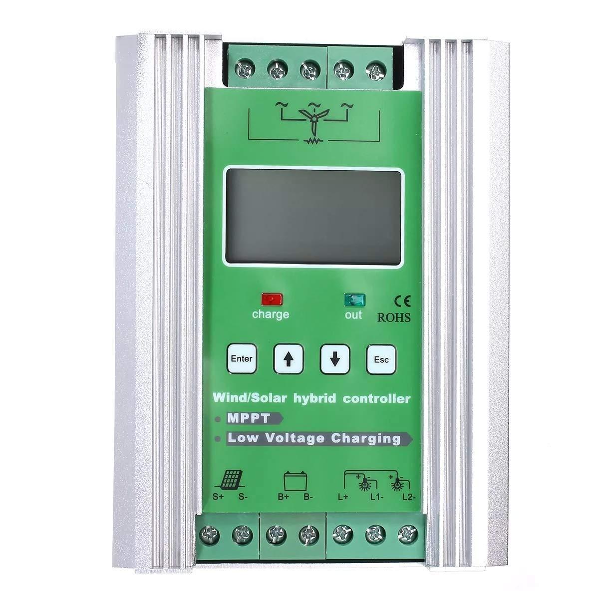 JeanPolly Herramientas del generador LCD 600W 12V / 24V Rejilla MPPT del Viento Solar híbrido Controlador de Carga Solar 500W Booster Carga de la Descarga: Amazon.es: Hogar