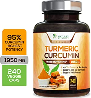 Turmeric Curcumin Highest Potency 95% Standardized Curcuminoids 1950mg with Bioperine for Best Absorption, Made in USA, Best Vegan Joint Pain Relief Turmeric Pills by Natures Nutrition - 240 Capsules