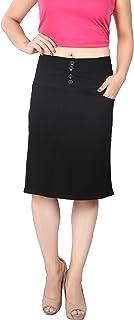 FCK-3 Women's Designer-Broad Waist Silky Stretchable Denim Skirt