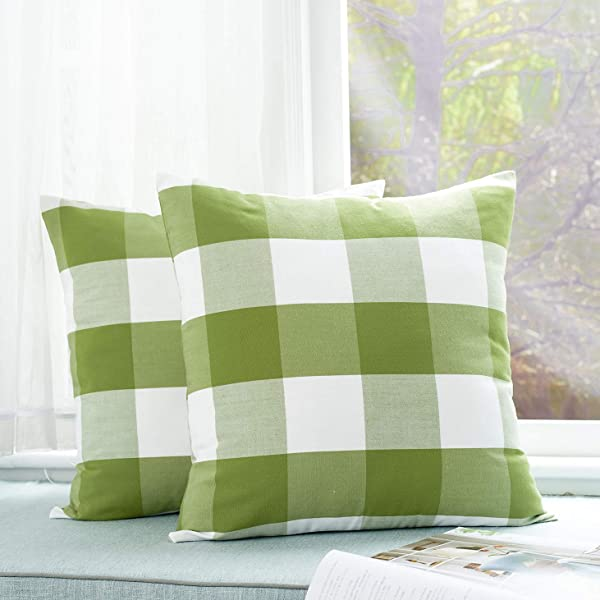 Foindtower Pack Of 2 Decorative Cotton Buffalo Throw Pillow Covers Classic Check Plaid Gingham Cushion Cover Rustic Farmhouse Modern Retro Decor For Sofa Bedroom Chair 18 X 18 Inch Green White