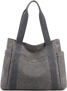 Oichy Handtasche Damen Leicht Canvas Shopper Multi-Taschen Casual Schultertasche (Grau)