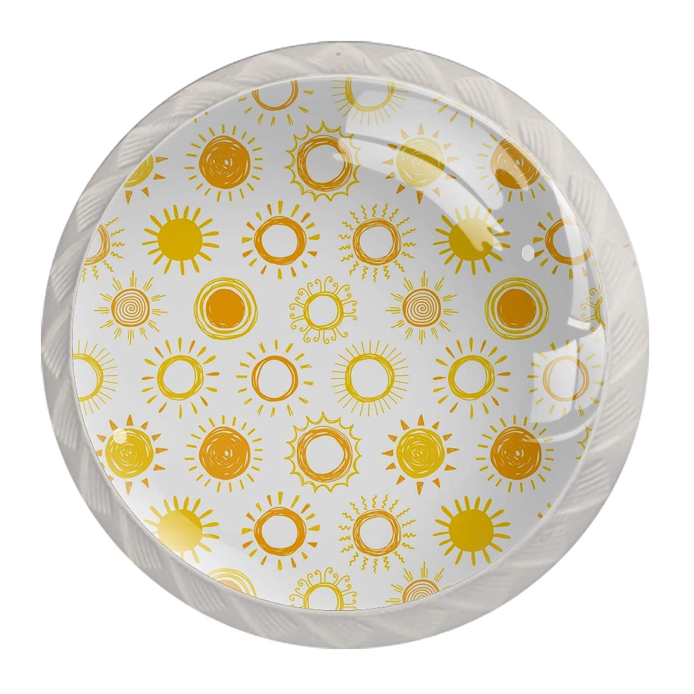 San Antonio Mall Cabinet Knobs Yellow Sun Dot 4 Glass Round Colorful pcs Crystal Bargain