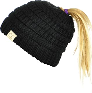 d5ee937b19d C.C BeanieTail Kids  Children s Soft Cable Knit Messy High Bun Ponytail Beanie  Hat
