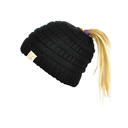 edc2e879ff9 C.C BeanieTail Kids  Children s Soft Cable Knit Messy High Bun Ponytail Beanie  Hat