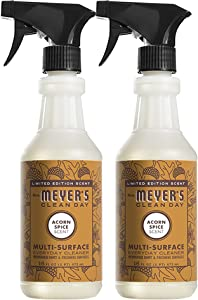 Mrs. Meyer's Clean Day Multi Surface Everyday Cleaner, Acorn Spice Scent, Limited Edition Scent, Removes Dirt & Freshens Surfaces, 16 FL OZ Spray (Pack of 2)