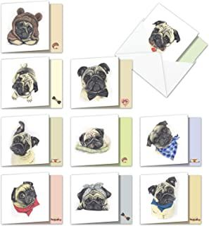 10 Boxed Assorted Snuggle Pug Dogs - Blank All Occasion Note Cards with Envelopes (Small 4 x 5.12 Inch) - Square-Top Animal Greeting Cards - Cute Stationery for Kids, Pet Owners AMQ5648OCB-B1x10