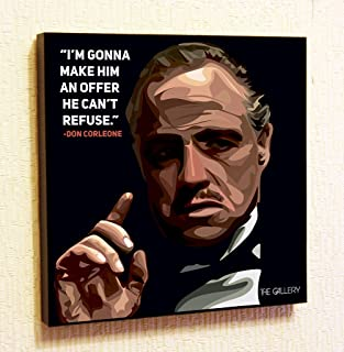 Don Corleone The Godfather Cinema Artist Actor Decor Motivational Quotes Wall Decals Pop Art Gifts Portrait Framed Famous Paintings on Acrylic Canvas Poster Prints Artwork (10x10