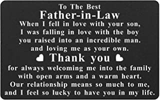 Father In Law Engraved Wallet Card Inserts, Best Father-in-law Gifts from Daughter In Law, Thank You for Raising The Man o...