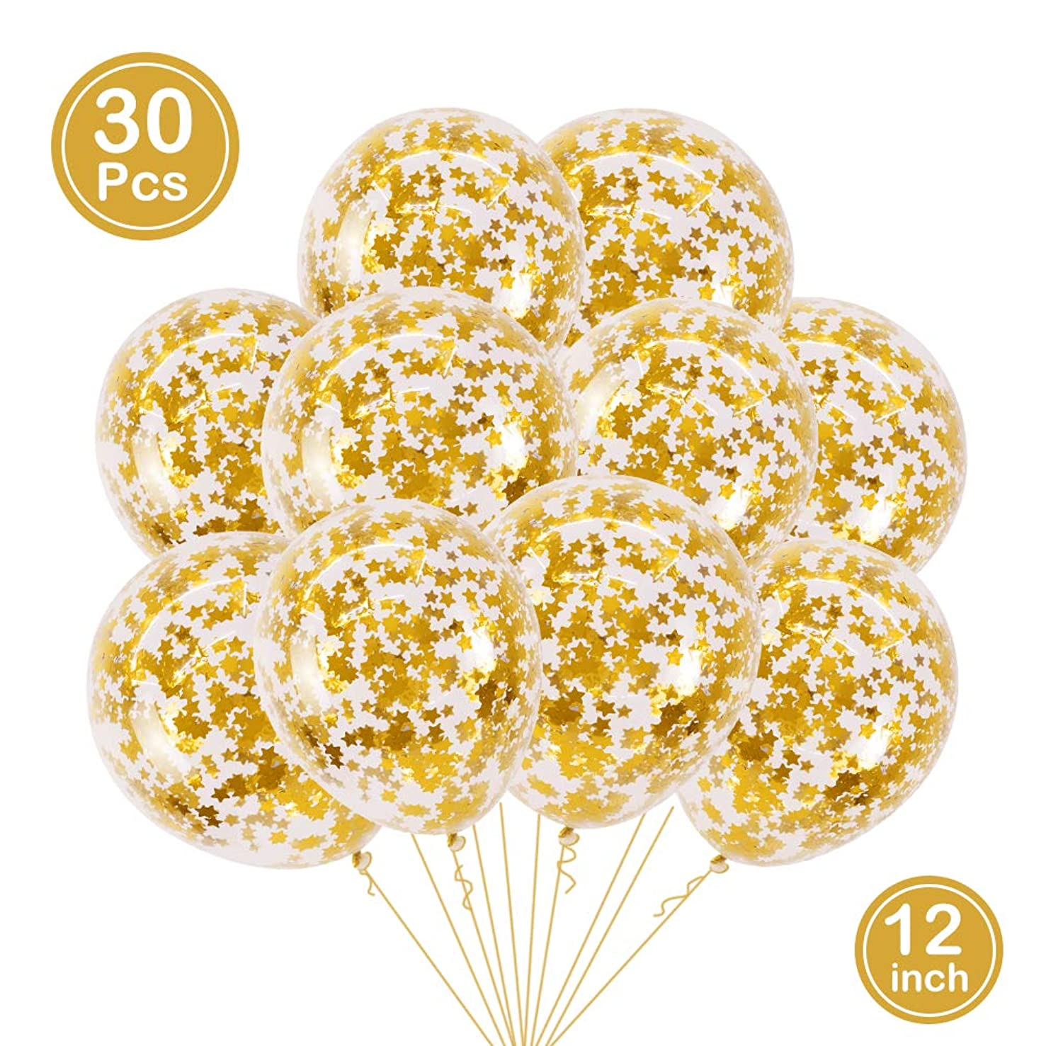 BALONAR 30pcs Gold Star Pre-Filled Confetti Balloons Party Latex Balloons with Gold Star Confetti for Birthday Party Wedding Supplies Decorations (Gold Star)