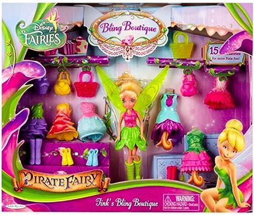 Disney Fairies - Tinkerbell (aus Peter Pan) mit Glitzerboutique, inkl. 15 Accesoires zum Wechseln, davon 5 Kleider