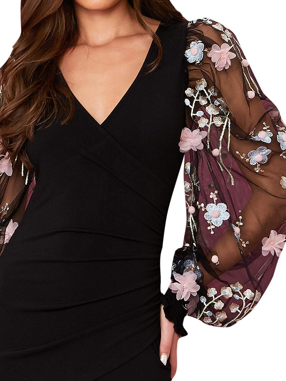 SheIn Damen Kleid mit Blumenmuster, Bestickt, langärmelig, V ...