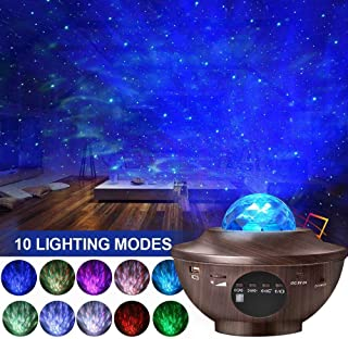 Aisuo Night Light, Star Projector with HiFi Bluetooth Speaker, Bedside Lamp & Remote Control, Adjustable Lightness, Ideal Gift for Kids, Friends, Living Room Music Player, Decor. (Wood Grain)
