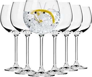 Krosno Cocktail Gin Tonic Balloon Water Glasses | Set of 6 Pieces | 480 ml | Venezia Collection | Ideal for Home, Restaura...