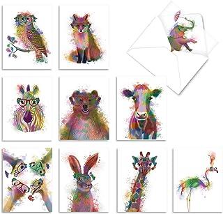 جعبه رنگین کمان حیات وحش، جعبه 10 نقاشی آبرنگ کارت توجه داشته باشید / پاکت نامه - همه موارد کارت پستال خالی - حیوانات ناز از شما سپاسگزارم Notecard، لوازم التحریر قدردانی 4 x 5.12 اینچ M4948OCB-B1x10