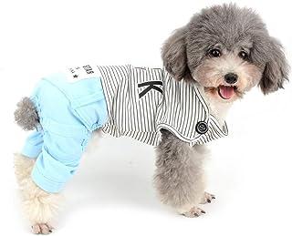 Zunea Pijama para Cachorro Perro pequeño, niña o niño, de algodón Acogedor, Pijama con Patas para Primavera de Verano