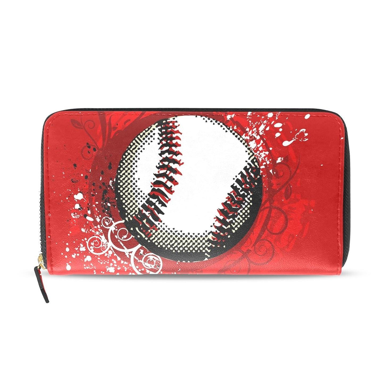 磨かれた条約大学生マキク(MAKIKU) 長財布 レディース 野球 ボール レッド メンズ 革 大容量 ラウンドファスナー ウォレット PUレザー コインケース カード12枚収納 プレゼント対応