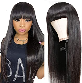 Sweetie Hair Human Hair Wigs with Bangs for Black Women Glueless Long Straight Wig with Bangs Human Hair None Lace Front M...