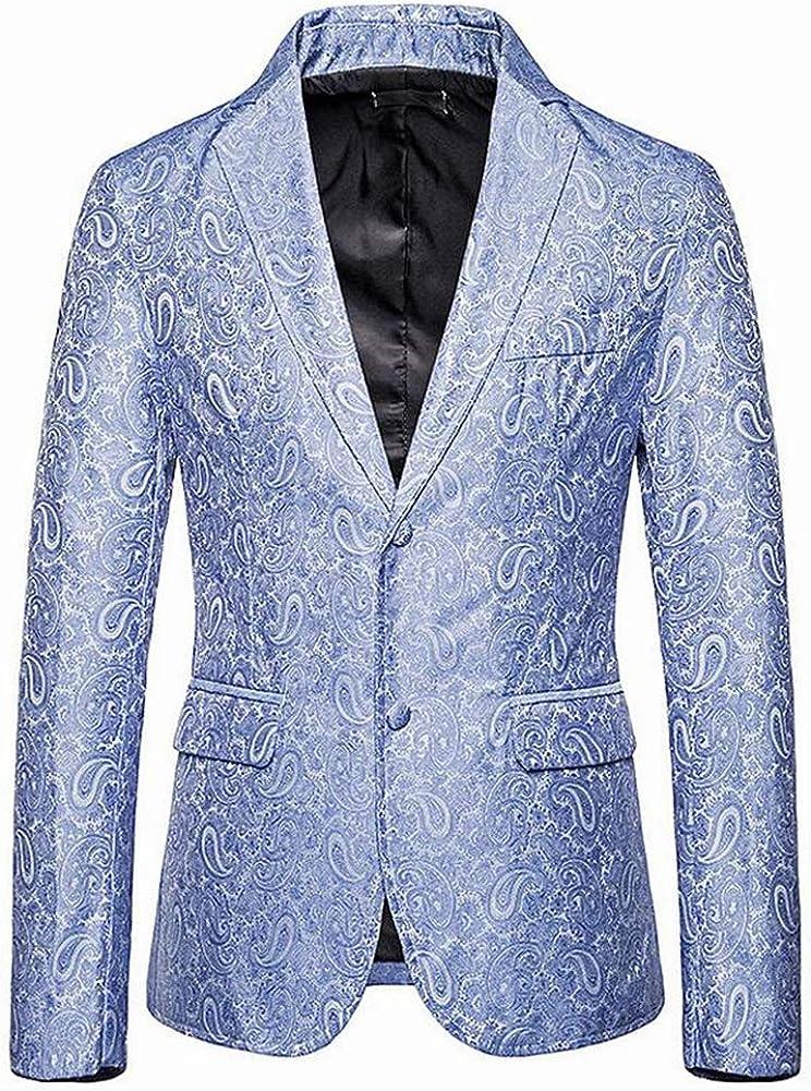 Men Two Buttons Notch Lapel Printed Performence Blazer Prom Tuxedo Jacket