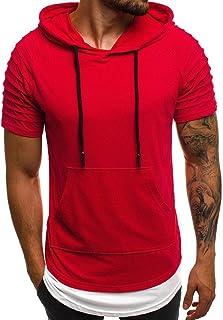 Howely Mens Hoodie Pleated Sweatshirt Pocket Overcoat Outwear Tops
