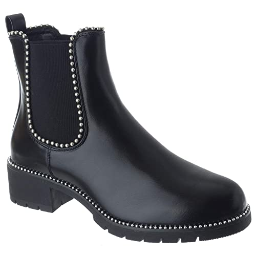 88bb36748be7 Miss Image UK Womens Ladies Chunky Flat Low Heel Studded Biker Punk Chelsea  Riding Ankle Boot